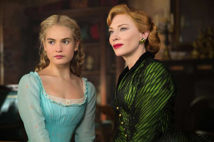 "Lily James is Cinderella and Cate Blanchett is the stepmother in Disney's live-action feature ""Cinderella."" (Jonathan Olley/Disney/TNS)"